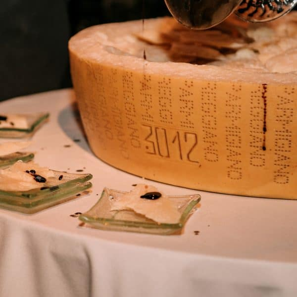 30 month selection of ours Parmigiano Reggiano with extra old balsamic vinegar – Chef Massimo Bottura
